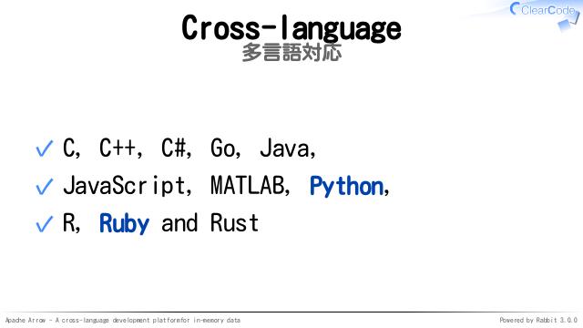 Apache Arrow - A cross-language development platform for in-memory